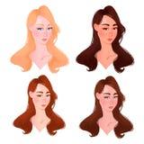 Ajuste do tipo bonito da cor da cara da mulher ilustração do vetor