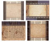 Ajuste do v?rio fundo velho do vintage com jornal retro e a tira velha do filme isolados imagens de stock royalty free