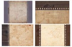 Ajuste do v?rio fundo velho do vintage com papel retro e a tira velha do filme isolados foto de stock royalty free