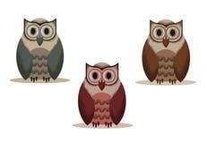 Ajuste do vetor da coruja com ruídos em um fundo transparente de máscaras diferentes ilustração do vetor