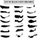 Ajuste do vetor preto EPS10 das escovas de pintura ilustração do vetor