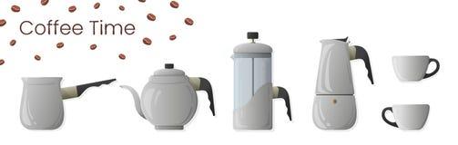 Ajuste do vetor realístico da preparação do café Cezve, chaleira do café, imprensa francesa, potenciômetro do moka e copo de café ilustração do vetor