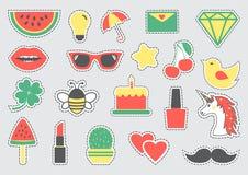 Ajuste dos ícones bonitos com linhas pontilhadas Ilustração do vetor ilustração stock