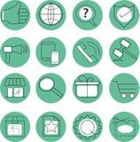 Ajuste dos ícones circulares das cores brancas e verdes ilustração do vetor