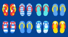 Ajuste dos ícones coloridos do vetor dos flip-flops do verão ilustração stock