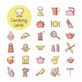 Ajuste dos ícones coloridos pixel-perfeitos da cozinha, isolado no fundo branco ilustração royalty free