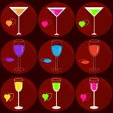 Ajuste dos ?cones com bebidas ilustração stock