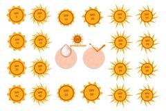 Ajuste dos ícones da proteção do SPF ilustração royalty free