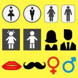 Ajuste dos ícones das ilustrações dos símbolos masculinos e fêmeas ilustração royalty free