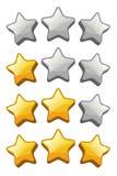 Ajuste dos ícones de avaliação da estrela para a relação do jogo imagens de stock