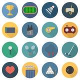 Ajuste dos ícones do esporte no projeto liso com parte longa 4 das sombras ilustração stock