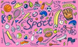 Ajuste dos ícones do esporte rabiscam o estilo Equipamento para a aptidão e o treinamento Símbolos da saúde e da atividade Tênis  ilustração do vetor
