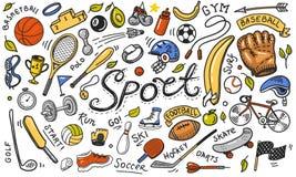 Ajuste dos ícones do esporte rabiscam o estilo Equipamento para a aptidão e o treinamento Símbolos da saúde e da atividade Tênis  ilustração stock