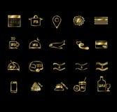 Ajuste dos ícones lisos do projeto de serviços do curso e de hotel Ícones do turismo para Web site, Web site móveis e apps Ícones ilustração royalty free