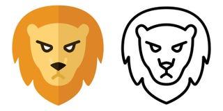 Ajuste dos ícones - logotipos no estilo linear e liso A cabe?a de um le?o Ilustra??o do vetor ilustração stock