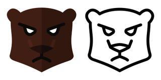 Ajuste dos ícones - logotipos no estilo linear e liso Cabe?a do urso Ilustra??o do vetor ilustração stock