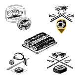 Ajuste dos ícones para indicar o trabalho do cozinheiro chefe e da culinária japonesa tradicional, o prato do arroz com o marisco ilustração royalty free