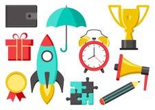 Ajuste dos ícones para o negócio ou a educação Carteira, guarda-chuva, copo, medalha, foguete, lápis, megafone, despertador, enig ilustração do vetor