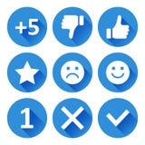 Ajuste dos ícones redondos para a avaliação Ilustração do vetor ilustração do vetor