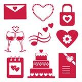Ajuste dos ícones vermelhos das silhuetas para a decoração e o projeto das felicitações para o dia de Valentim Ilustração do veto ilustração stock