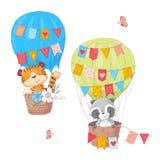 Ajuste dos animais bonitos leão e guaxinim dos desenhos animados em um balão com flores e bandeiras para a ilustração das criança ilustração do vetor