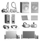 Ajuste dos aparelhos eletrodomésticos/eletrônica no branco imagens de stock royalty free