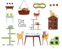 Ajuste dos artigos para o café do gato dos gatos e da mobília diferentes - casas do gato e as tabelas com as xícaras de café no f ilustração royalty free