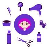 Ajuste dos artigos rdressing Objetos para fazer a menina um penteado bonito ilustração stock