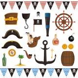 Ajuste dos atributos do pirata para o feriado em um estilo dos desenhos animados ilustração royalty free