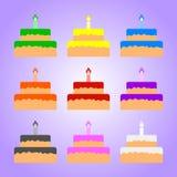 Ajuste dos bolos coloridos isolados no fundo violeta Ilustração para seu projeto, jogo do vetor, cartão ilustração stock