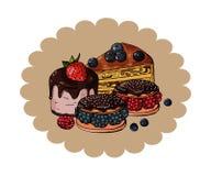 Ajuste dos bolos doces coloridos em um fundo arenoso do círculo, vetor ilustração stock