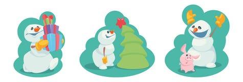 Ajuste dos bonecos de neve engraçados dos desenhos animados Ilustração do vetor ilustração stock