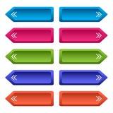 Ajuste dos botões da Web com setas, botões longos coloridos Vetor ilustração royalty free