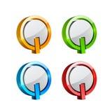 Ajuste dos botões tridimensionais coloridos fotos de stock royalty free