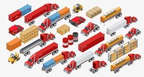 Ajuste dos caminhões e dos bens do frete ilustração do vetor