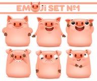 Ajuste dos caráteres bonitos do emoji dos desenhos animados do porco em várias emoções fotografia de stock royalty free