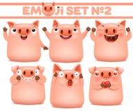Ajuste dos caráteres bonitos do emoji dos desenhos animados do porco em várias emoções imagem de stock