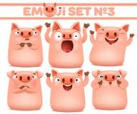 Ajuste dos caráteres bonitos do emoji dos desenhos animados do porco em várias emoções fotos de stock