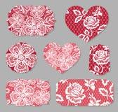 Ajuste dos cartões, cartazes, insetos para Valentine Day ilustração royalty free