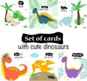 Ajuste dos cartões com dinossauros bonitos em um fundo branco - ilustração do vetor, eps ilustração do vetor