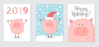 Ajuste dos cartões do ano novo 2019 com um porco feliz ilustração stock