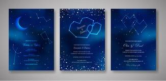 Ajuste dos cartões do convite do casamento da noite estrelado, salvar a data Celestial Template da galáxia, espaço, estrelas, céu ilustração do vetor