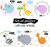 Ajuste dos cartazes com animais bonitos - ilustração do vetor, eps ilustração stock