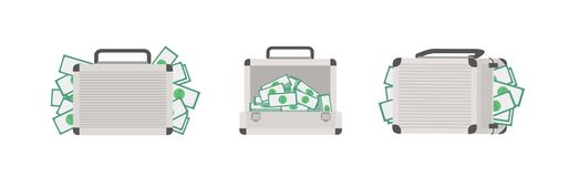 Ajuste dos casos completo do dinheiro isolado no fundo branco Pacote de pastas com as cédulas do dinheiro ou do dólar Riqueza e ilustração do vetor
