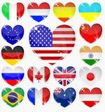 Ajuste dos corações das bandeiras Foto de Stock