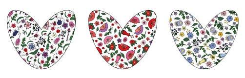 Ajuste dos corações florais bonitos com curso editável no fundo transparente imagens de stock royalty free
