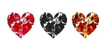 Ajuste dos corações pintados à mão da aquarela com as flores abstratas no branco ilustração do vetor