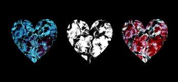 Ajuste dos corações pintados à mão da aquarela com as flores abstratas no preto ilustração do vetor