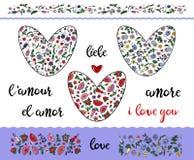 Ajuste dos corações rabiscando florais com curso editável no fundo transparente Beiras e amor da palavra imagens de stock