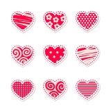 Ajuste dos corações vermelhos brilhantes estilizados do vetor foto de stock royalty free